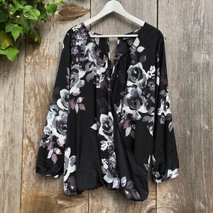 Lane Bryant black floral wrap keyhole blouse D49